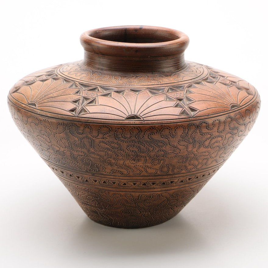 Indonesian Incised Ceramic Decorative Vase