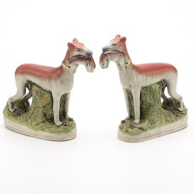 Staffordshire Style Whippet Dogs with Hares