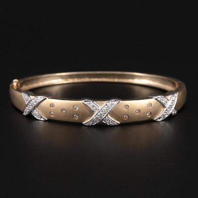 14K Yellow and White Gold Diamond Oval Bangle Bracelet