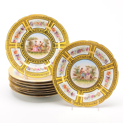 Saxe German Porcelain Yellow Ground Plates with Courting Scene, Late 19th C.
