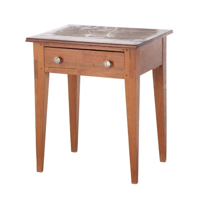 American Walnut One-Drawer Side Table, 20th Century