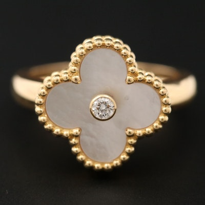 """Van Cleef & Arpels """"Alhambra"""" 18K Gold Diamond and Mother of Pearl Ring"""