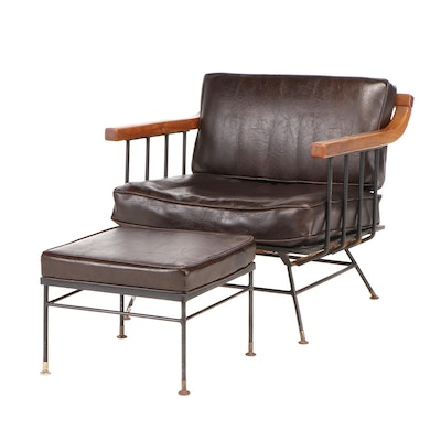 Mid Century Modern Walnut Upholstered Arm Chair and Ottoman, Mid-20th Century