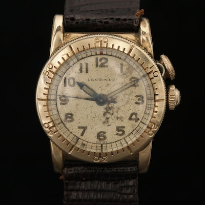 Longines Weems Second-Setting 10K Gold Filled Stem Wind Wristwatch, Circa 1953