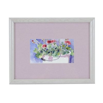 D. Nordlah Watercolor Painting of Geraniums in Basket