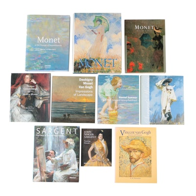 Art Books Including Claude Monet, John Singer Sargent, and Vincent van Gogh