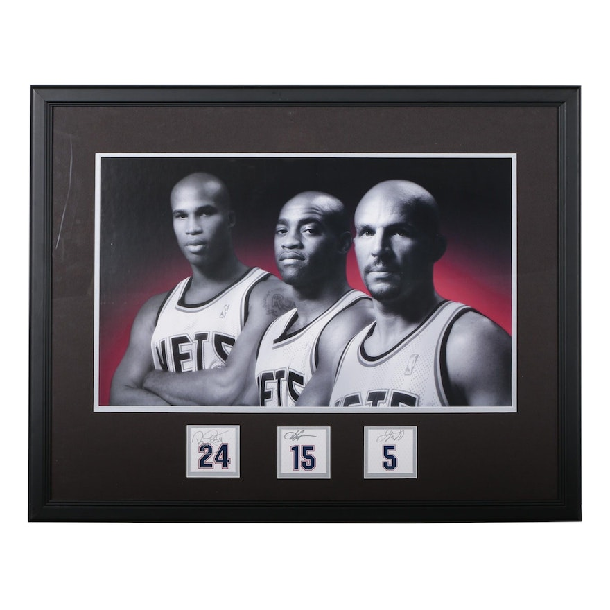 Framed Brooklyn Nets Jefferson, Carter and Kidd Signed Display