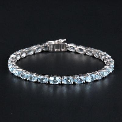 Sterling Silver Blue Topaz Link Bracelet