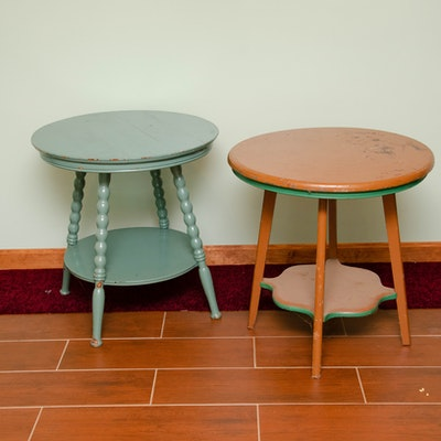 Painted Round Wooden Side Tables, Vintage