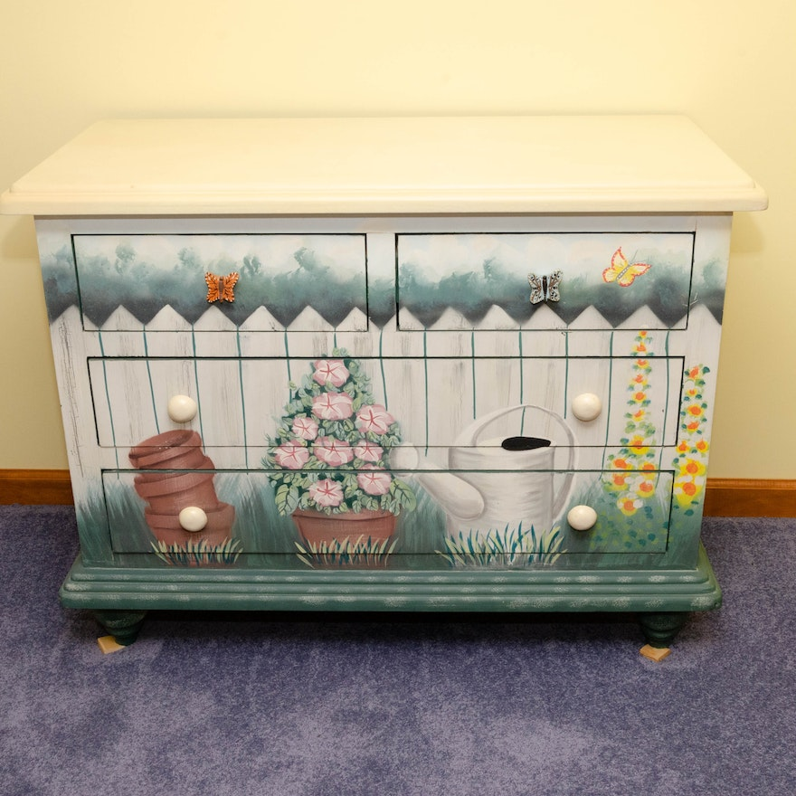 Hand-Painted Chest of Drawers in Garden Motif