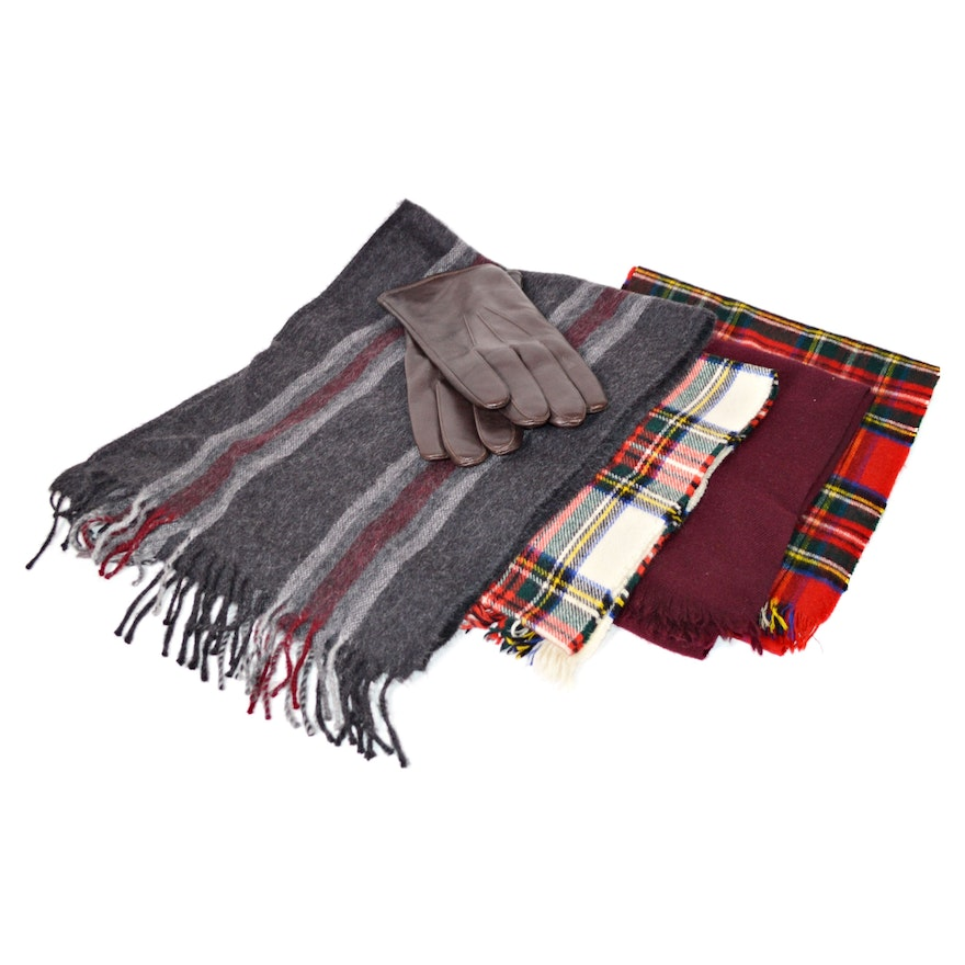 Men's Alpaca, Cashmere Blend and Wool Scarves with Leather Gloves