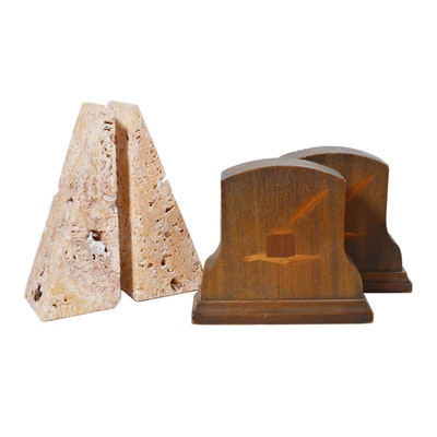 Stone Bookends and Wood Inlay Bookends, Vintage