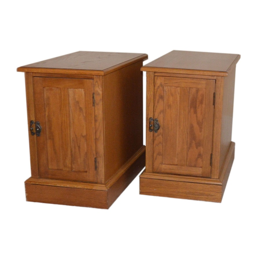 Pair of Oak Side Cabinets, Contemporary