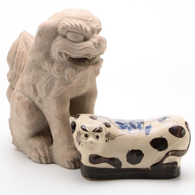 Stoneware Cat Opium Pillow and Austin Production Inc Guardian Lion-Dog Statue