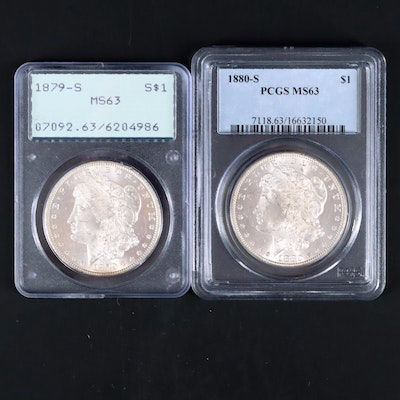 Two PCGS Graded MS63 Silver Morgan Dollars Including an 1879-S and 1880-S