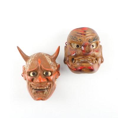 "Japan Gigaku ""Demon"" Mask and Tengu ""Protector of Forests"" Mask, 20th Century"