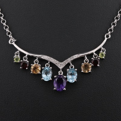 Sterling Necklace with Amethyst, Topaz, Citrine, Garnet, Peridot and Diamond