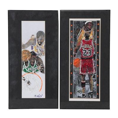 Mixed Media Artwork Featuring Michael Jordan, Bill Russell and Wilt Chamberlain