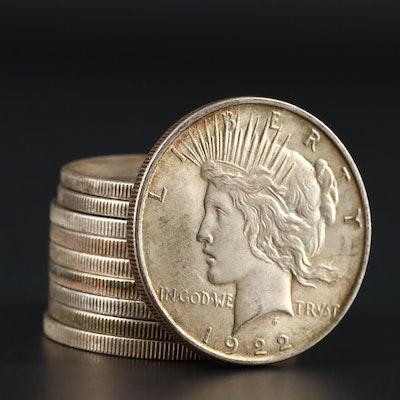Ten Silver Peace Dollars Including a 1922, 1922-D, 1922-S, and 1923-S