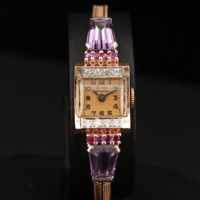 Vintage 14K Gold Zodiac Antimagnetique Diamond, Amethyst and Ruby Wristwatch
