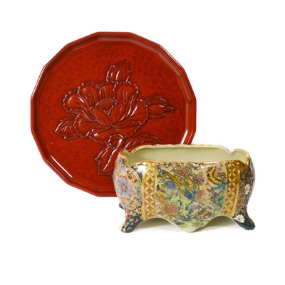 Royal Satusma Porcelain Planter and Chinese Souvenir Plate