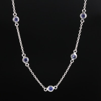 Sterling Silver Tanzanite Endless Station Necklace