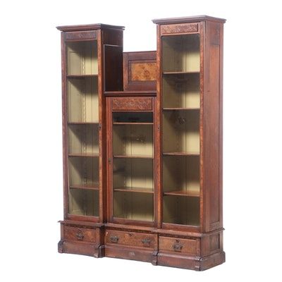 Large Victorian Eastlake Walnut Bookcase, Circa 1880s