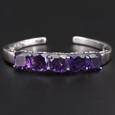 Sterling Silver Amethyst Cuff Bracelet