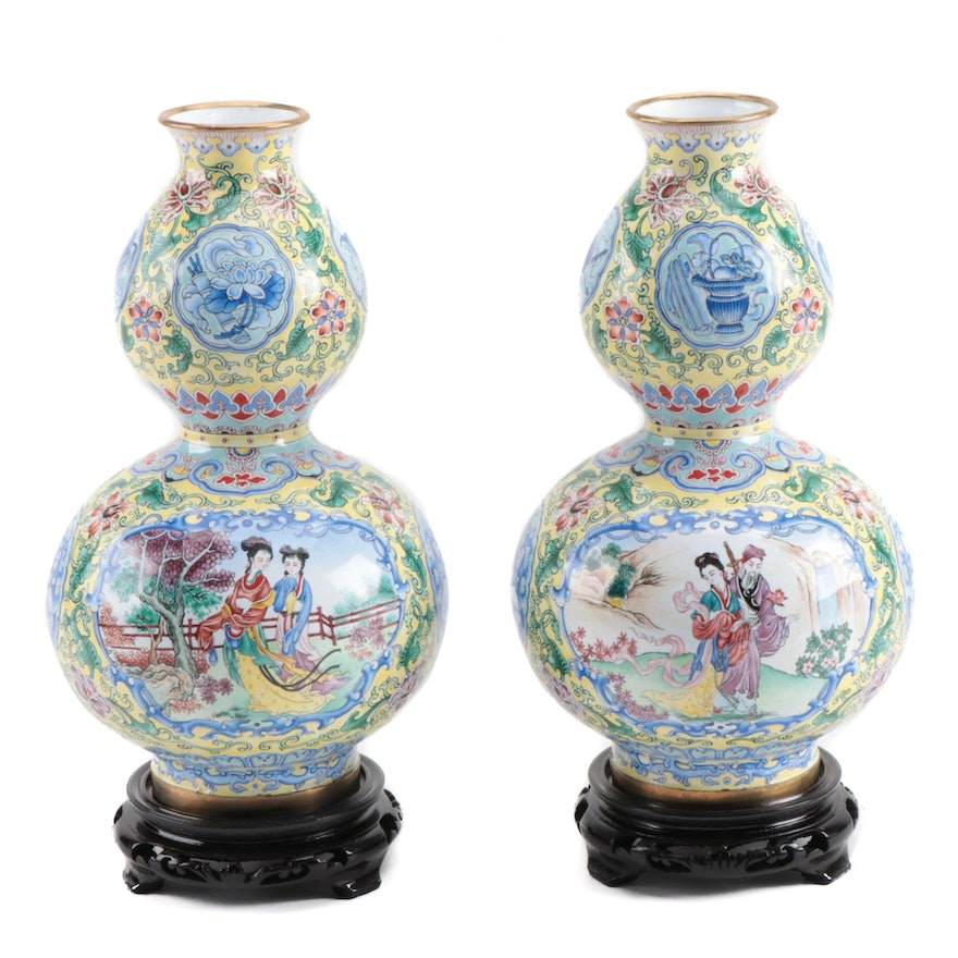 Hand-Painted Enamel Double Gourd Vases with Carved Stands