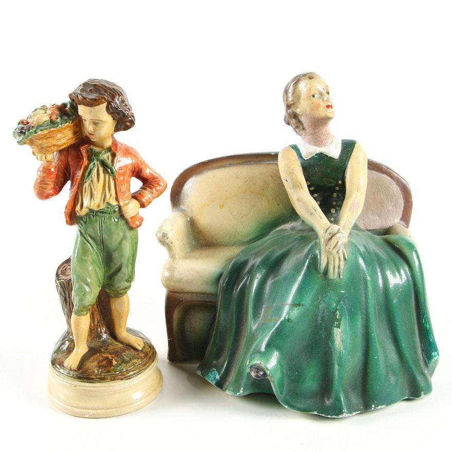 Polychrome Chalkware Figurines