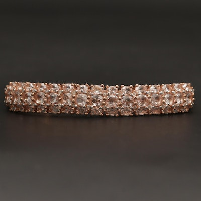 Sterling Silver Morganite Cuff Bracelet