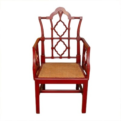 East Asian Inspired Red Armchair with Cane Seating