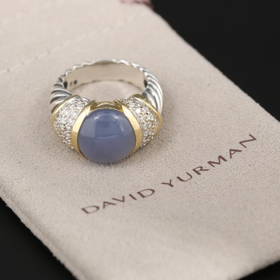 David Yurman Sterling Silver and 18K Yellow Gold Chalcedony and Diamond Ring