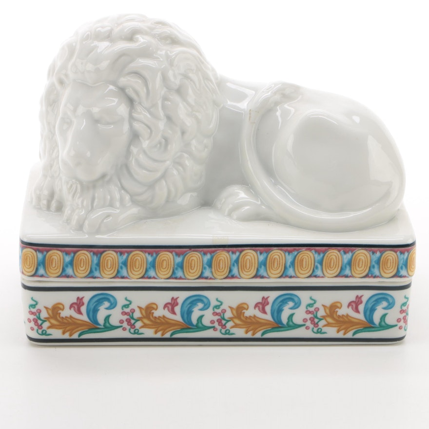 """Elizabeth Arden """"Palais de Versailles"""" Porcelain Lion Box with Other Glass Lions"""