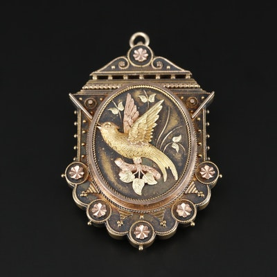 Victorian Aesthetic Movement 14K Gold Converter Locket Brooch