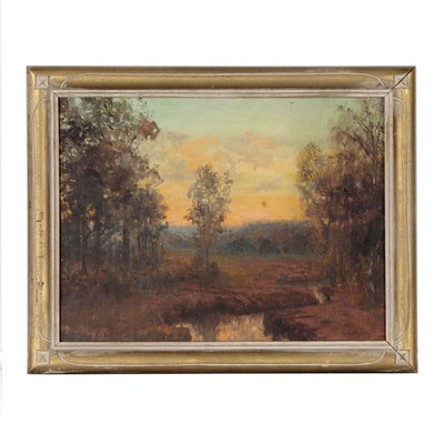"Oil Painting ""The Time of the Year,"" Late 20th Century"