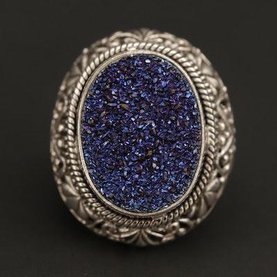 Sterling Silver Druzy Scrollwork Ring