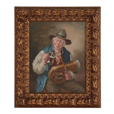"""Oil Painting after Hans Rudolf Richter """"Trombone Player with Beer"""""""