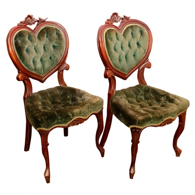 Victorian Style Side Chairs with Heart Backs & Tufted Seats, Early 20th Century