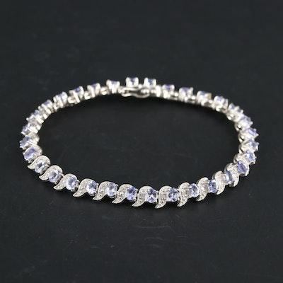 Sterling Silver Tanzanite and Diamond Bracelet