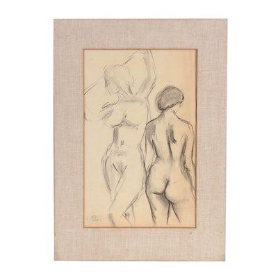 Charcoal Figure Study, Mid 20th Century