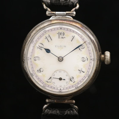 Antique Elgin Fancy Dial Nickel Wristwatch, 1918
