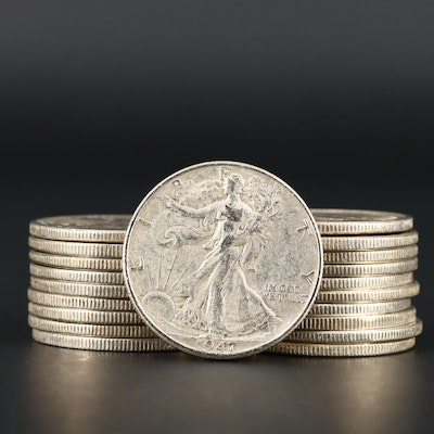 Twenty Walking Liberty Silver Half Dollars Ranging from 1936 to 1947