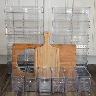 Plastic Handled Organizing Bins, Bamboo Cutting Board, and More