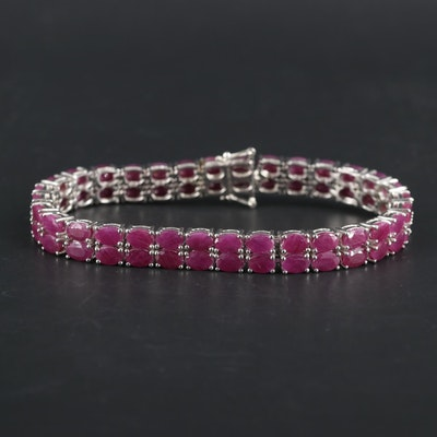 Sterling Silver Ruby Double Row Bracelet