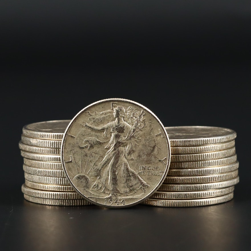 Twenty Walking Liberty Silver Half Dollars Ranging from 1935 to 1946