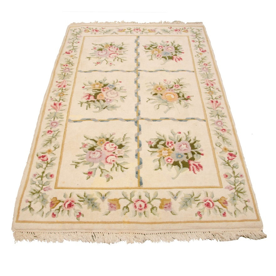 4'1 x 6'7 Hand-Knotted Indian Floral Wool Rug