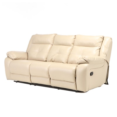 United Furniture Fauz Leather Reclining Pillow Back Sofa, Contemporary
