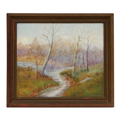 Alice Regester Landscape Oil Painting of Rural Creek, Mid to Late 20th Century