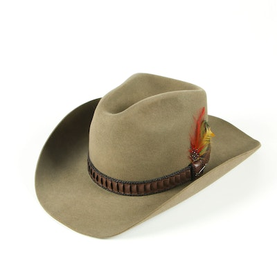 Stetson 3X Beaver Felt Cowboy Hat in Sage with Braided Band and JBS Lasso Pin